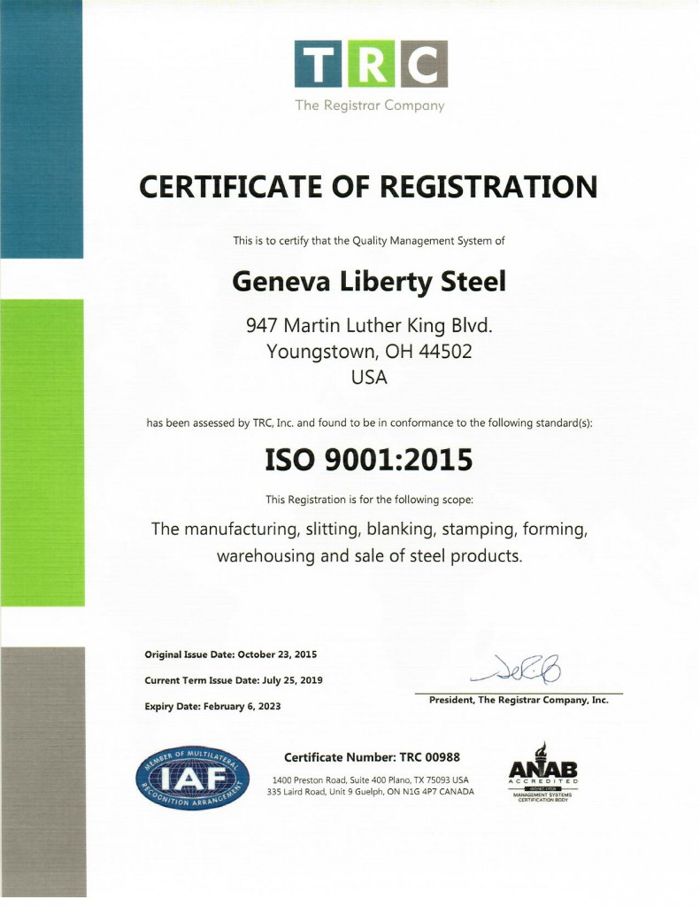 2019 ISO Certificate